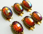 Ornate Gold Clasp 2 Strand Madera Topaz AB Vintage Glass Cabochon in Gold Crown Setting C-3