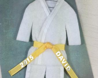 YELLOW Belt Personalized TaeKwonDo Karate Christmas Ornament- YELLOW Belt  -  Name / Year - Martial Arts Jiu Jitsu Bando Hapkido