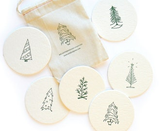 O Christmas Tree - Holiday Letterpress Coasters, set of 6