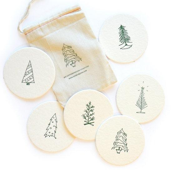 O Christmas Tree - Holiday Letterpress Coasters, set of 6
