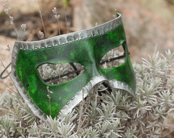 Green and Silver Leather Mask