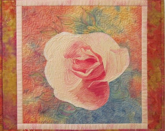 My Little Rose Original Fiber Art Wall Hanging by Lenore Crawford