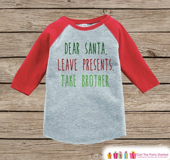 Kids Christmas Outfit Funny Santa Shirt Take Brother Funny