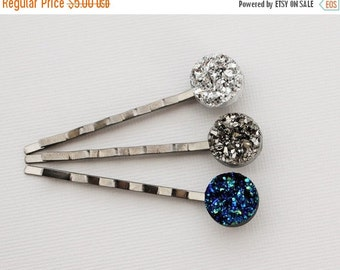 Faux Druzy Hair Pin. Charcoal Gray, Silver, or Blue.