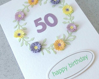 Handmade 50th card, birthday, paper quilling, can be for any age - 18th, 21st, 30th, 40th, 60th, 70th, 80th, 90th, 100th