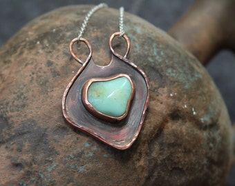 Chrysoprase  Amulet - Copper pendant with Chrysoprase - Chrysoprase  pendant - Amulet pendant - OOAK pendant - ready to ship