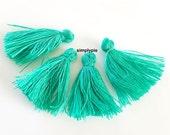 10 Sea Green Cotton Mini Tassels 1-Inch Long Tassle Project Pendant Earring Bookmark Decoration