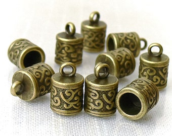 Cord Ends Antiqued Brass Glue In Cord End Tubes 10 Pcs Tibetan Style Findings
