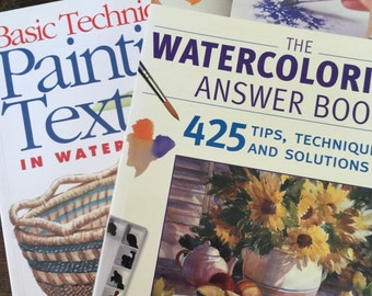 CLEARANCE Two Watercolor Painting Books, Painting Instruction Books, Art Books, How to Books,  Painting Textures, Watercolorists