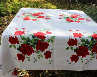 "Wilendur American Beauty Rose Tablecloth  Red Roses Larger Bold Colors 65"" x 85"" VINTAGE by Plantdreaming"