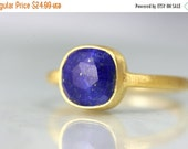 SUMMER SALE Lapis Lazuli Ring - Gold Gemstone September Birthstone Ring - Cushion Cut  Ring - Gold Gemstone Ring - Square Cut Ring Bezel Set
