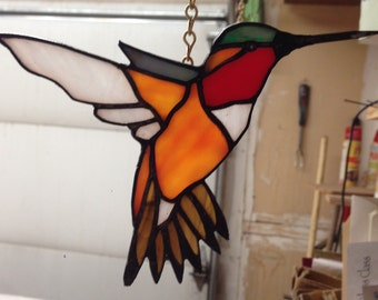 Orange Rufus Hummingbird, glass