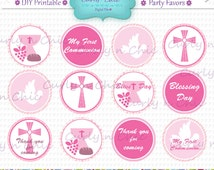 """INSTANT DOWNLOAD -Girl First Communion Party Favor Toppers- Size 2""""  -Printable Party Tag, Cupcake Topper, DIY, You Print, You Cut -"""