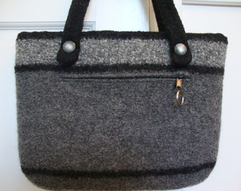 Gray and gray tweed felted wool briefcase with black stripes - with lining and zipper pockets