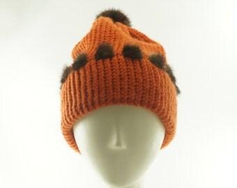 Pumpkin BEANIE HAT For Women / Orange Knit Hat / Mink tim & Pom Poms / Wool Slouch Hat / Mink Pom Pom / Handmade by Marcia Lacher Hats