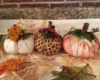 Set of Three Little Fabric Rustic Country Pumpkins: White Pumpkin, Painted Orange Pumpkin, Plaid Brown Pumpkin