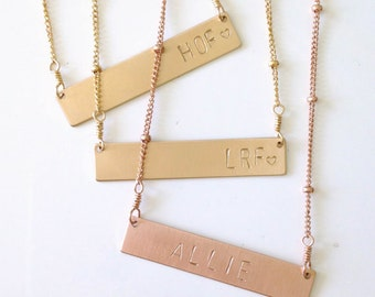 Personalized Name Necklace, Gold Bar Necklace, Rose Gold Personalized Monogram, Handmade Silver Nameplate Necklace, Stamped Layering Choker