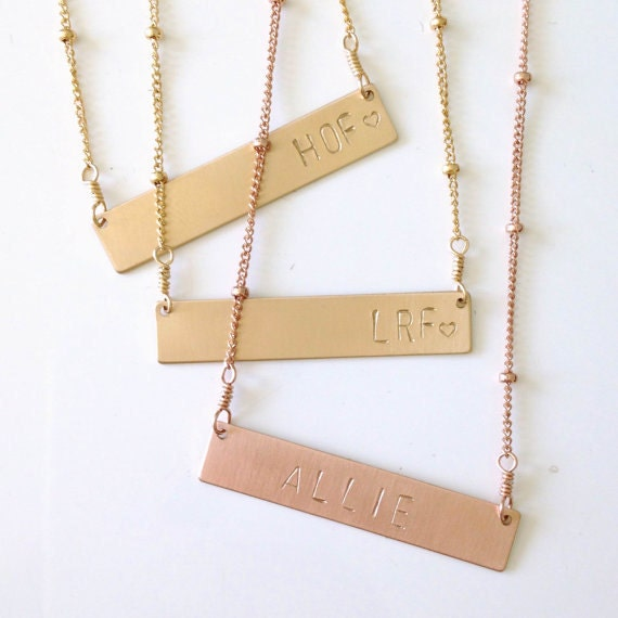 personalized name necklace gold bar necklace rose by freshyfig. Black Bedroom Furniture Sets. Home Design Ideas