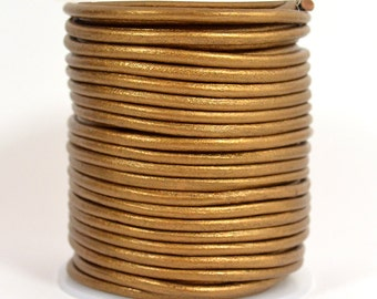 3mm Indian Leather - Metallic Copper - 3MR-227 - Choose Your Length