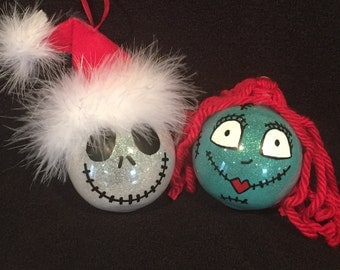 Jack Skellington and Sally from Nightmare before Christmas  shatterproof Christmas ornament