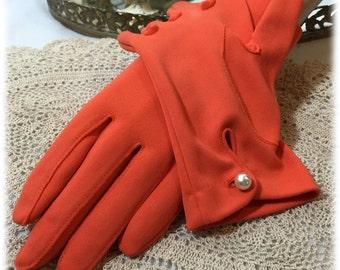 VTG Hansen Orange Ladies Gloves Nylasuede Wrist Length Pearl Button EUC 6 1/2