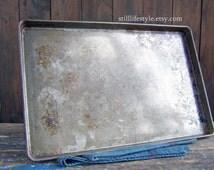 Vintage Cookie Sheet, Aged Baking Pan, Vintage Bakery Tray, Metal Bake Ware, Sheet Pan, Jelly Roll Pan, Commercial Baking Pan