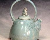 Hand made teapots, blue crackle glaze, unique porcelain teapots, tea service, porcelain teapots, shipping included