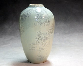 hand made, ceramic vase Porcelain traditional shaped, blue green celadon with crackle glaze with shipping included in the selling price.