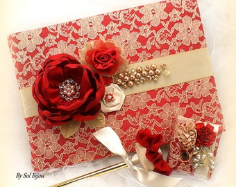 Guest Book, Red, Gold, Lace Guest Book, Wedding, Signature Book, Signing Pen, Crystals, Pearls, Indian Wedding, Chinese Wedding, Elegant