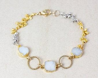 ON SALE Gold Snow White Druzy & Pyrite Gemstone Bracelet