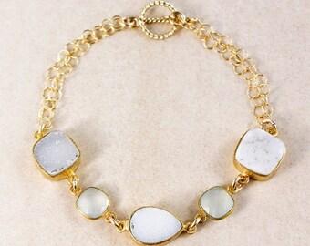 ON SALE Aqua Chalcedony Bracelet – White/Soft Grey Druzy – 14K Gold Filled