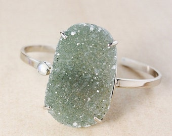ON SALE Natural Green Druzy Bangle – Rainbow Moonstone – Sterling Silver