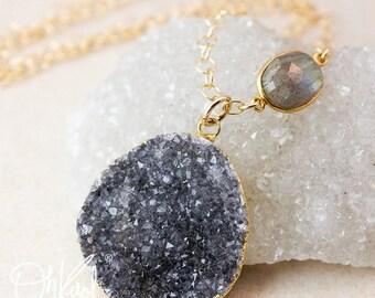 ON SALE Sparkly Black Drusy Necklace - Blue Labradorite - 14K Gold Filled, Layering Necklace