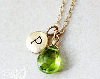 LABOR DAY SALE Gold Green Peridot Necklace - August Birthstone - Initial Necklace