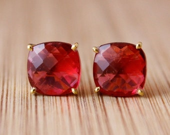 LABOR DAY SALE Red Ruby Quartz Stud Earrings - Prong Set Studs - Pop of Red, Fall Fashion