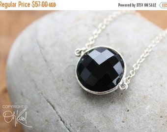 CLEARANCE SALE Silver Black Onyx Bezel Necklace - Gemstone Necklace - 925 Sterling
