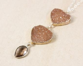 Silver Brown Druzy & Smokey Quartz Necklace - Long Druzy Necklace