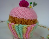 hand knitted CUPCAKE pincushion