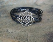 SALE 30% off Sale Rose Leather Pewter Wrap Bracelet