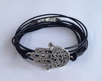 Summer Sale Leather Pewter Hamsa Hand Wrap Bracelet
