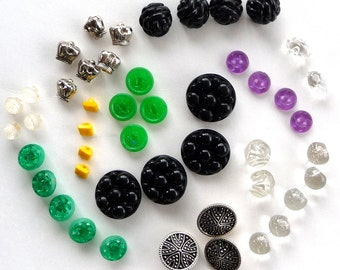 Vintage Buttons - 1930s 1940s - 46 UNIQUE - Glamour - Plastic - Glass - Retro Buttons - Recycled - Wedding Buttons - RARE