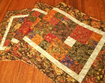 Quilted Fall Table Runner in Moda's Autumn Elegance, Autumn Table Runner, Thanksgiving Table Runner, Brown Red Gold Green, Quiltsy Handmade