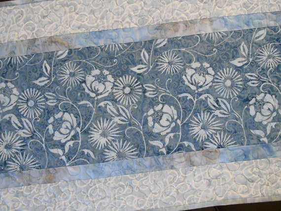 Blue and White Quilted Table Runner, Quilted Batik Table Runner, Floral Table Runner, Flower Quilted Table Mat