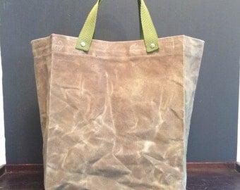 Waxed Canvas Handled Bag - Tan