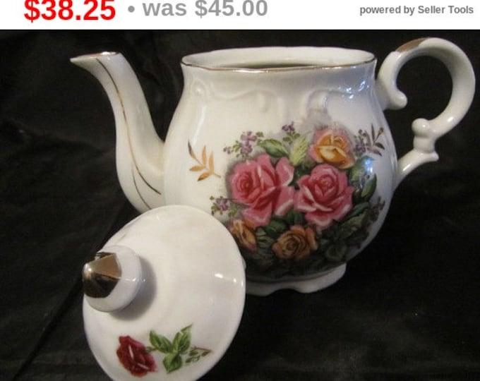 Vintage Halsey Fine China Musical Tea Pot, Rose Musical Tea Pot, Home Decor, Plays Tea For Two