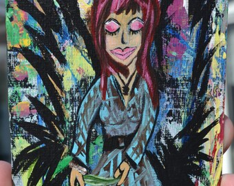 Woman & Bird Art Tag, Crow Gal  Painting, Acrylic Strathmore paper, Be You, Love Yourself
