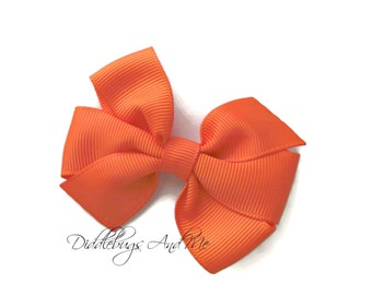 Orange Hair Bow, School Pinwheel Hair Bow, Girls Hair Bow, Fall Pinwheel Bow, Girls Hair Bow Accessories, Hair Bows For Fall, Halloween Bow