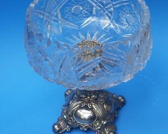 Crystal and Silver Ornate Pedestal Fruit Bowl