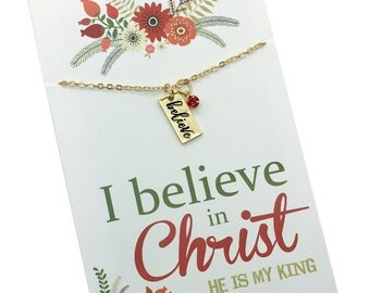Religous Christmas Gifts for her, Believe Necklace, silver or gold vertical Believe bar Necklace, Christmas quote gift I believe in Christ..