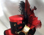 Steampunk Mini hat hair fascinator headpiece with working watch piece